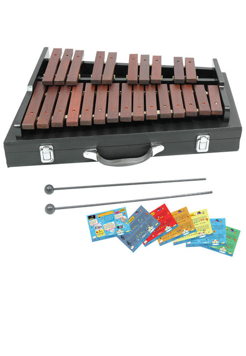 D'Luca 25 Notes Chromatic Wood Xylophone with Carrying Case