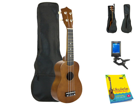 Star Soprano Ukulele 21 Inch with Bag, Tuner and Beginner's Guide, Brown