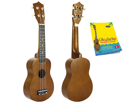 Star Soprano Ukulele 21 Inch with Beginner's Guide, Brown