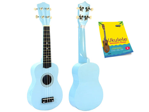 Star Soprano Ukulele 21 Inch with Beginner's Guide, Light Blue