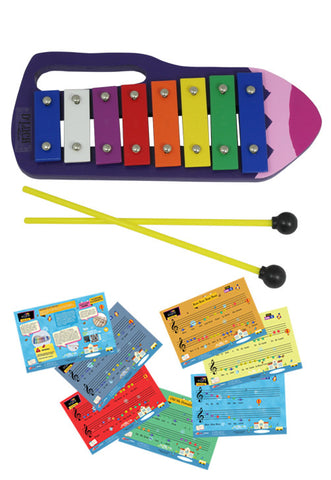 D'Luca Kids Crayon 8 Notes Xylophone Glockenspiel with Music Cards