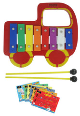 D'Luca Kids Red Truck Baby 8 Note Xylophone Glockenspiel with Music Cards