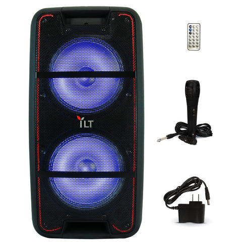 YLT Dual 10 Inch Karaoke Rechargeable Speaker Mic, Bluetooth, AUX/USB/TF, LED's