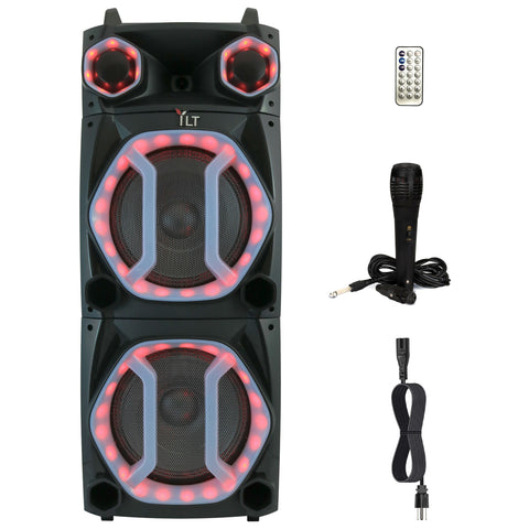 YLT Dual 12 Inch Karaoke Rechargeable Pro Speaker, Mic, Bluetooth AUX/USB, LEDs