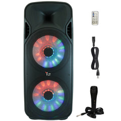 YLT Dual 15 Inch Karaoke Rechargeable Pro Speaker, Mic, Bluetooth AUX/USB, LEDs