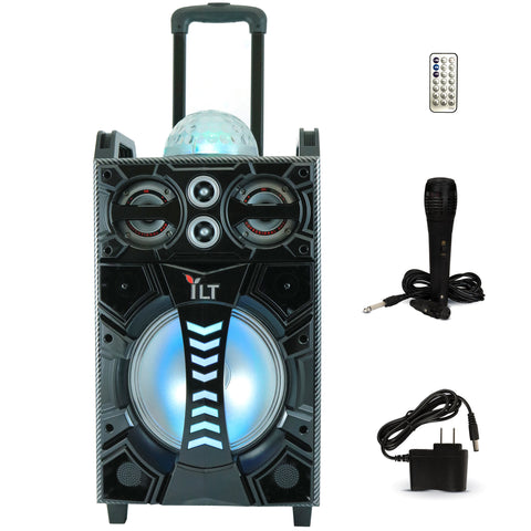 YLT 10 Inch Karaoke Rechargeable Speaker, Mic, Bluetooth, AUX/USB, LED's