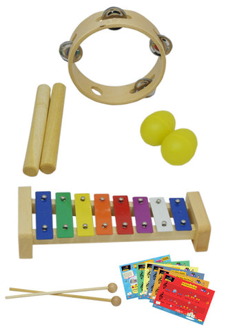D'Luca Percussion 4 Pack With Glockenspiel, Music Cards, Tambourine, Sticks And Egg Shakers