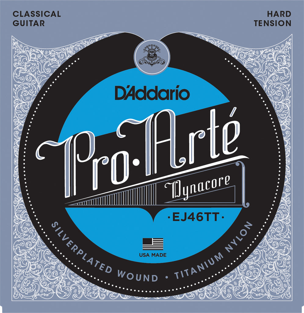 D'Addario EJ46TT ProArte DynaCore Classical Guitar Strings, Titanium Trebles, Hard Tension