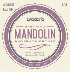 D'Addario EJ70 Phosphor Bronze Mandolin Strings, Ball End,  Medium/Light, 11-38
