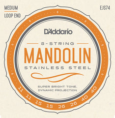 D'Addario EJS74 Mandolin Strings, Phosphor Bronze, Stainless Steel, 11-40