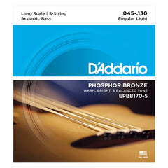 D'Addario EPBB170-5 Phosphor Bronze 5-String Acoustic Bass Strings, Long Scale, 45-130
