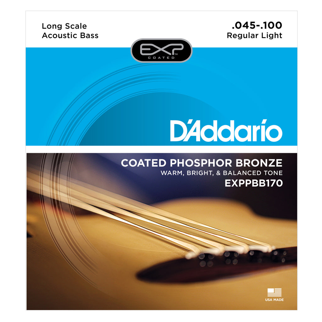 D'Addario EXPPBB170 Phosphor Bronze Coated Acoustic Bass Strings, Long Scale, 45-100