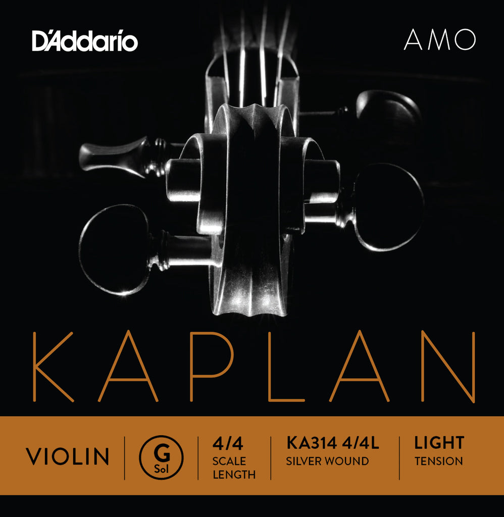 D'Addario Kaplan Amo Violin G String, 4/4 Scale, Light Tension