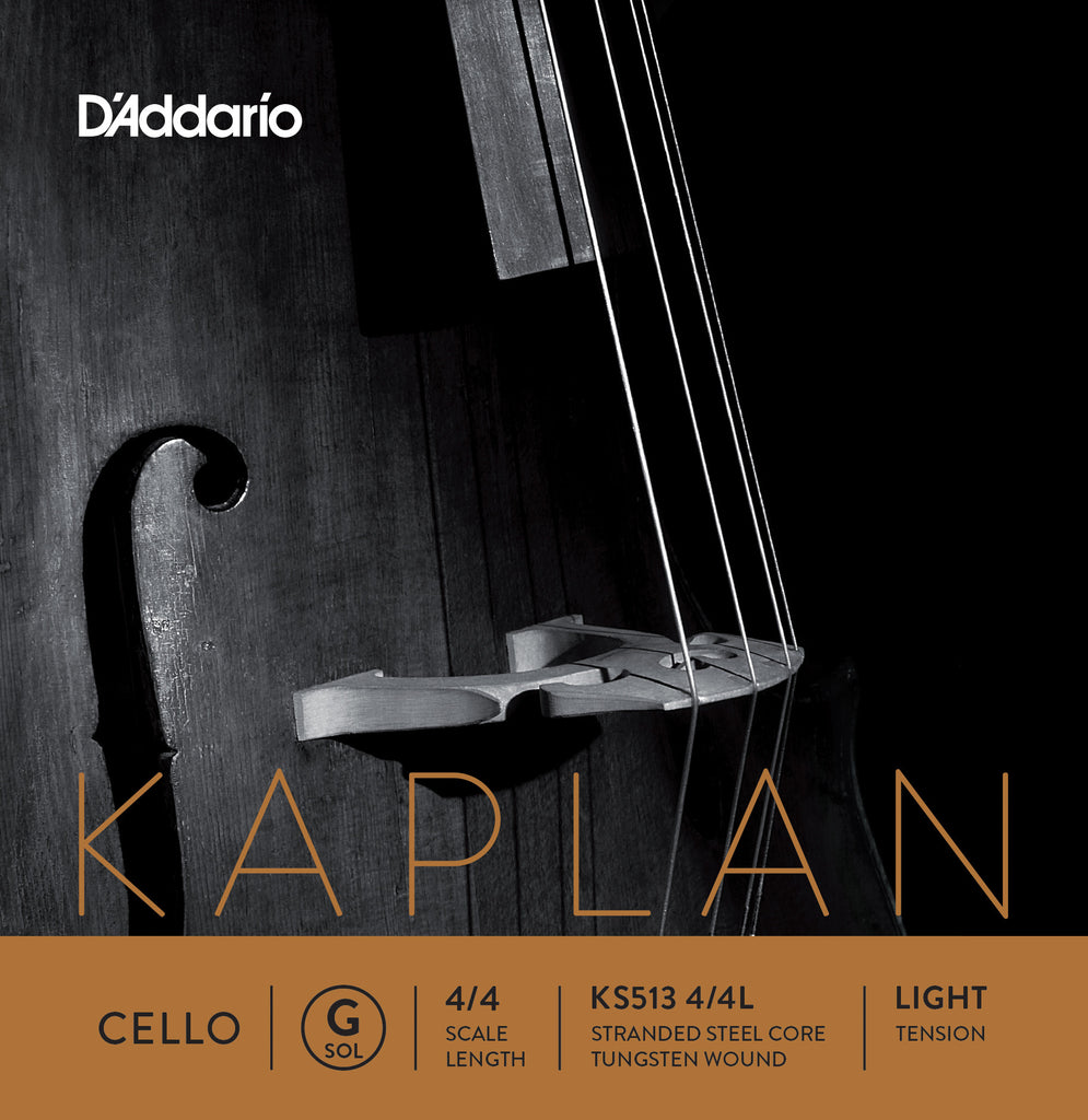 D'Addario Kaplan Cello Single G String, 4/4 Scale, Light Tension