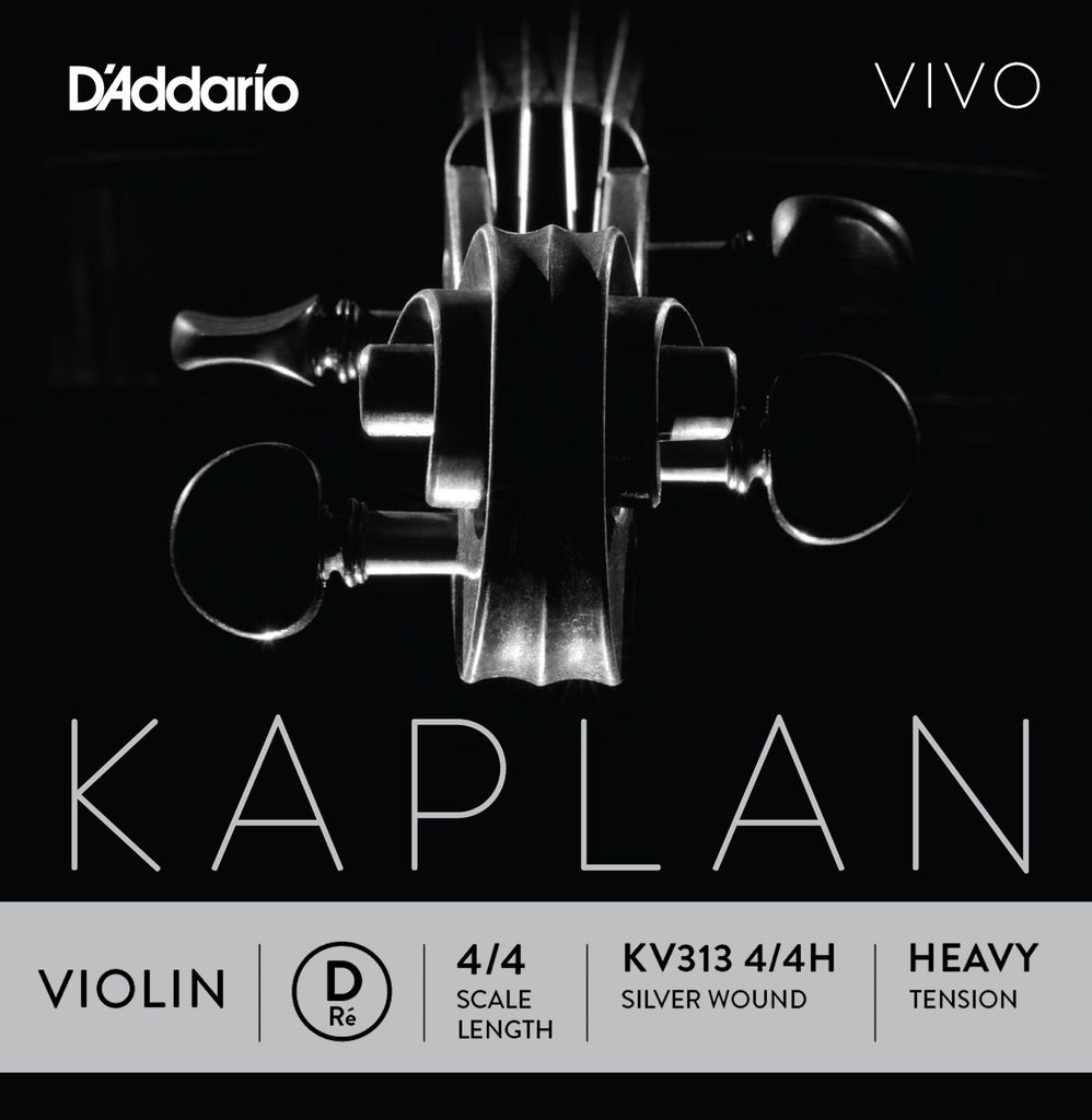 D'Addario Kaplan Vivo Violin D String, 4/4 Scale, Heavy Tension