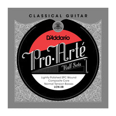 D'Addario LCN-3B Pro-Arte Lightly Polished Silver Plated Copper on Composite Core Classical Guitar Half Set, Normal Tension