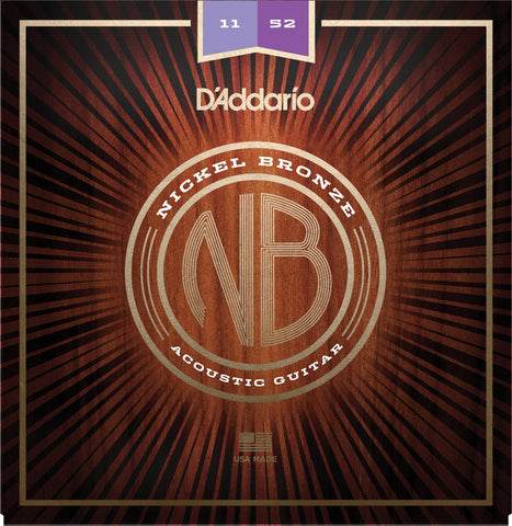 D'Addario NB1152 Nickel Bronze Acoustic Guitar Strings, Custom Light, 11-52