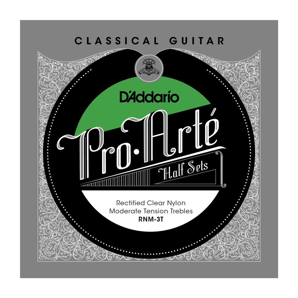 D'Addario RNM-3T Pro-Arte Rectified Clear Nylon Classical Guitar Half Set, Moderate Tension