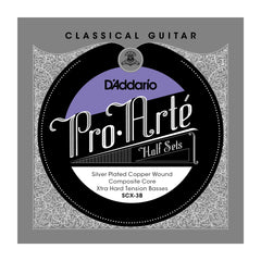 D'Addario SCX-3B Pro-Arte Silver Plated Copper on Composite Core Classical Guitar Half Set, Extra Hard Tension