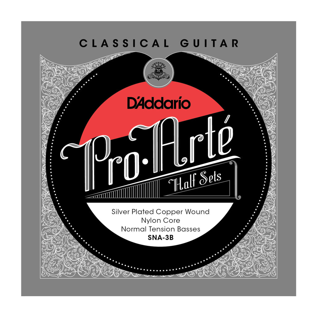 D'Addario SNA-3B Pro-Arte Silver Plated Copper on Nylon Core Classical Guitar Half Set, Alto Tension