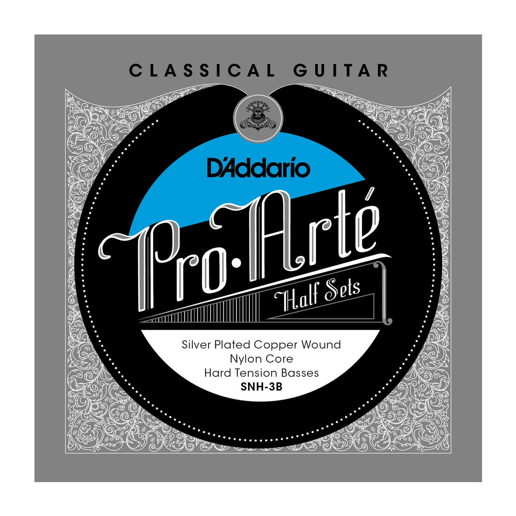 D'Addario SNH-3B Pro-Arte Silver Plated Copper on Nylon Core Classical Guitar Half Set, Hard Tension