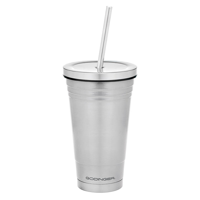 Double Walled Stainless Steel Covered Cup With straw 18oz