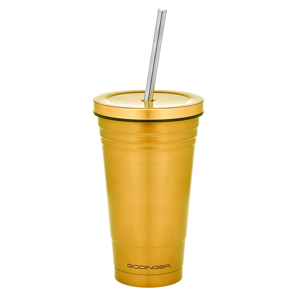 Double Walled Stainless Steel Gold Cup With straw 18oz