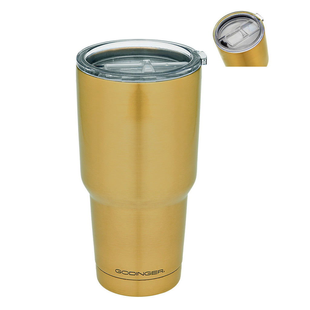 Double Walled Gold Finish Travel Mug 30oz
