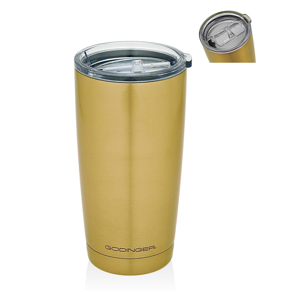Double Walled Gold Finish Travle Mug 20oz
