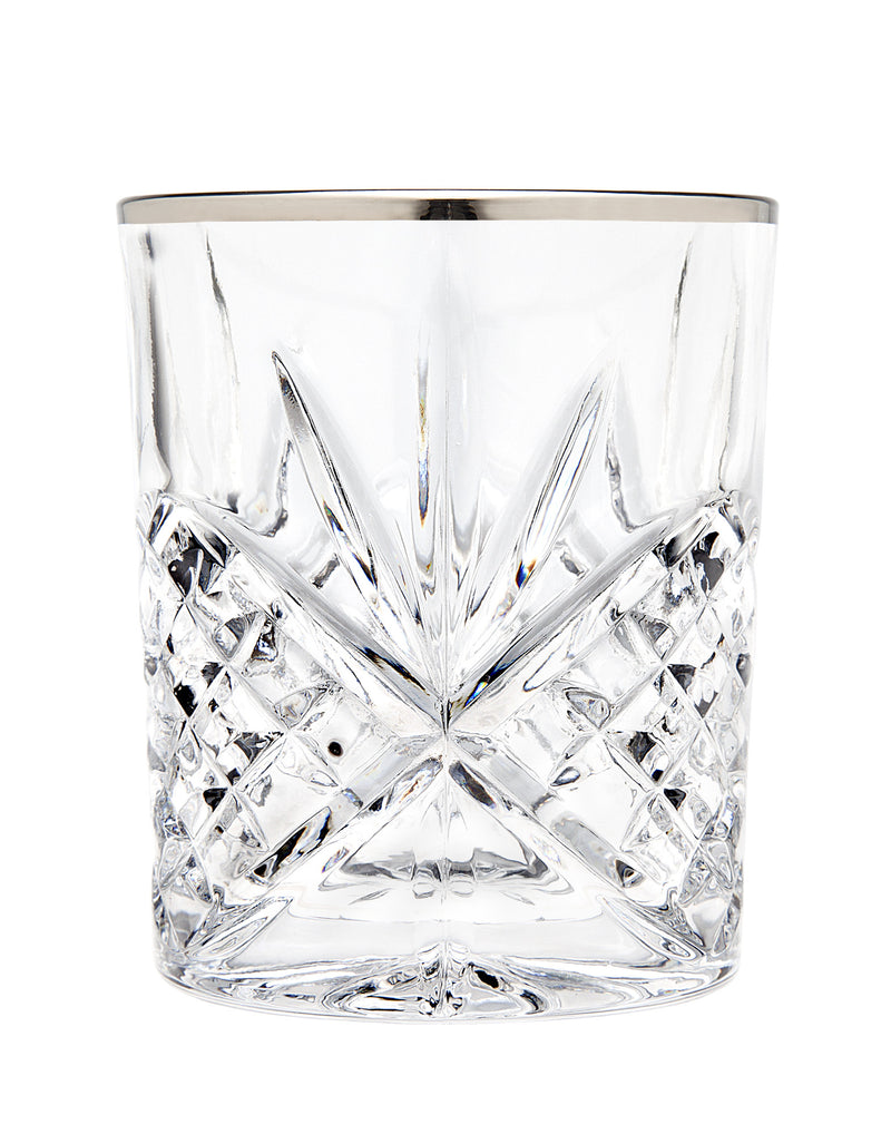 Dublin Set of 4 Double Old Fashioned Glasses - Platinum
