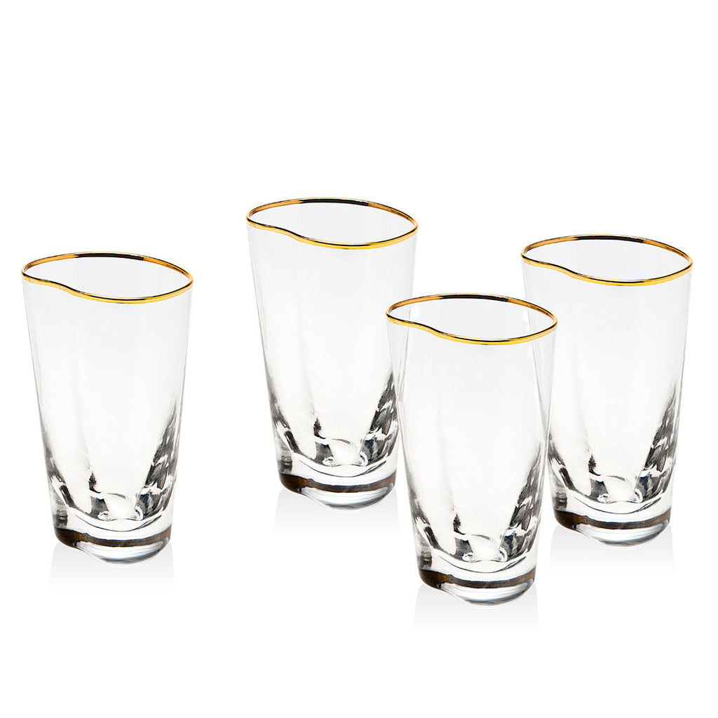 Cosmos Set of 4 Gold Banded Highball Glasses