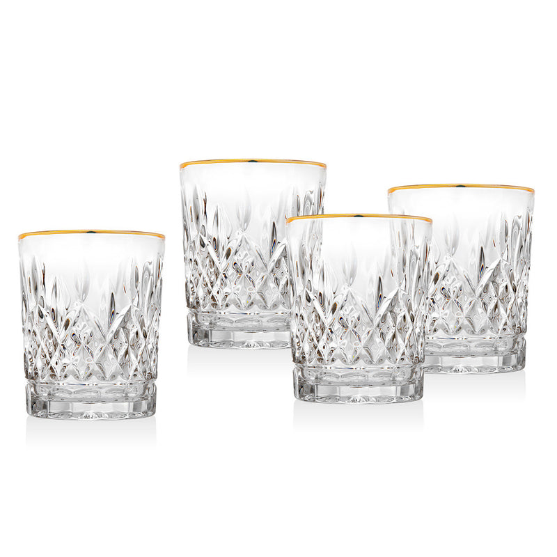Birmingham Set Of 4 Gold Double Old Fashioned Glasses