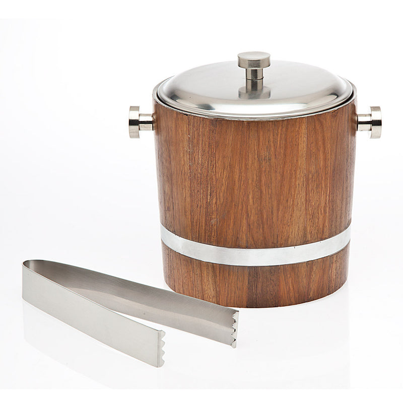 Ice Bucket and Tongs with Wood Inlay