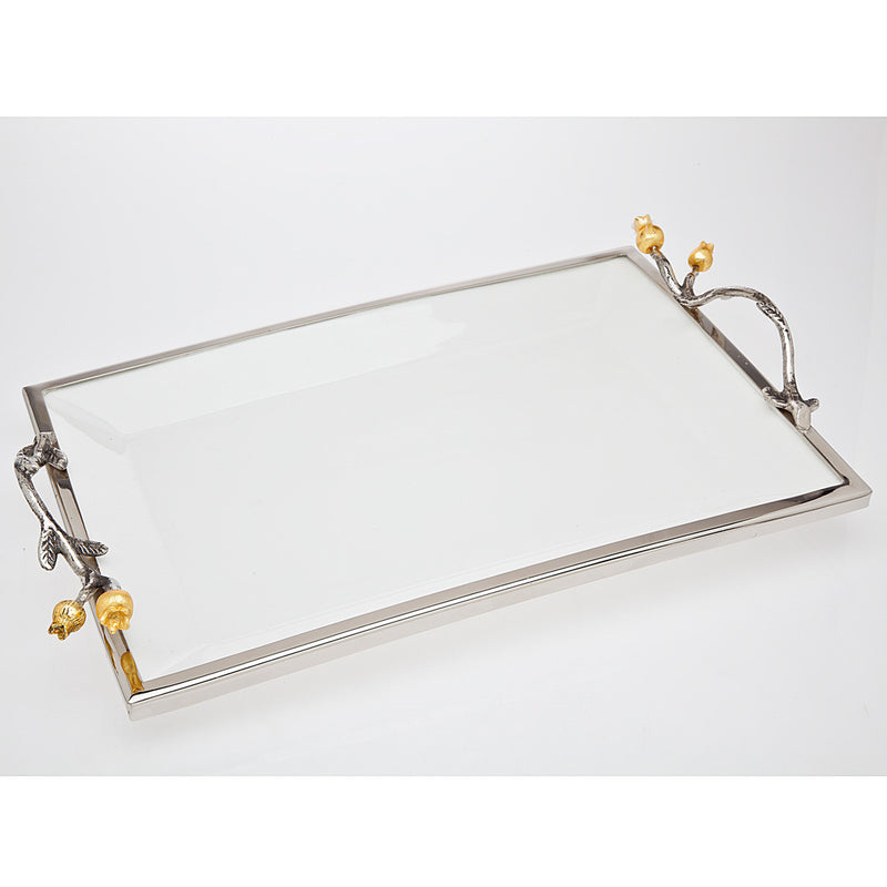 15 Inch Golden Blossom Rectangular Tray