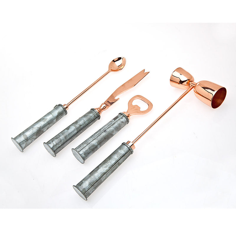 4 Piece Bar Tool Set Gold With Galvanized Handles