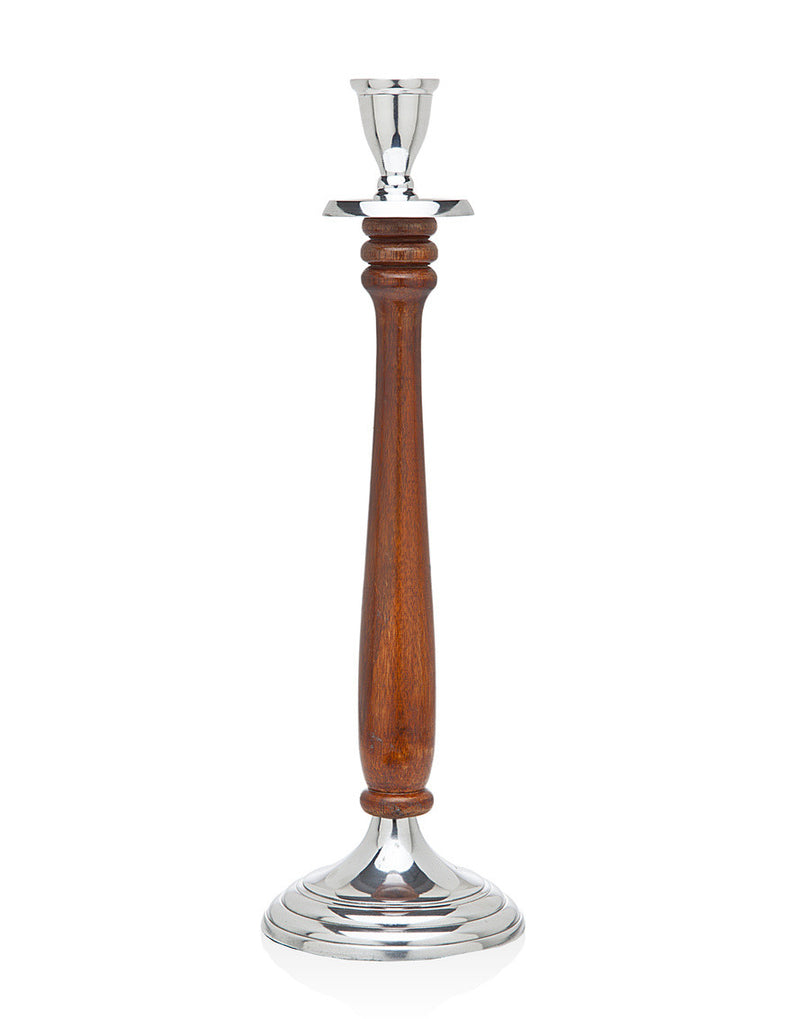 15 Inch Wood And Metal Candlestick