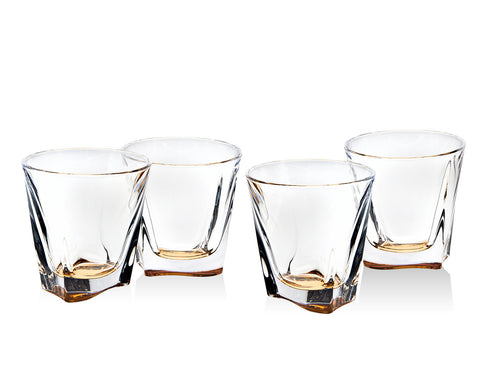 Brookdale Amber Set Of 4 9 OZ Double Old Fashioned Glasses - CESKA