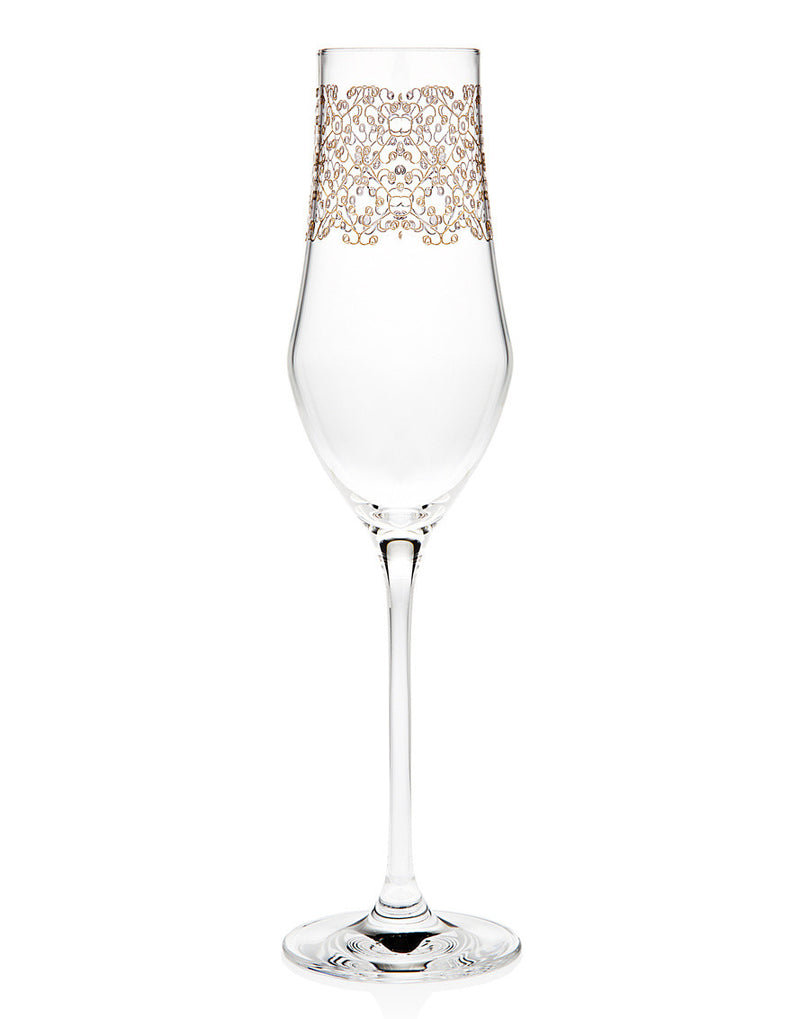 Allegra Gold Set of 4 7oz  Champagne Flutes