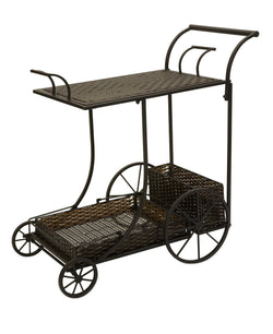 All-Weather Wicker Wine Serving Cart - Wine Rack Concepts