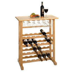 Wood 24 Bottle Wine and Glass Rack Table - Wine Rack Concepts
