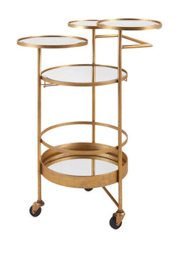 Anitque Gold Mobile Bar Cart - Wine Rack Concepts
