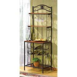 Traditional Bakers Rack with Wine Storage - Wine Rack Concepts