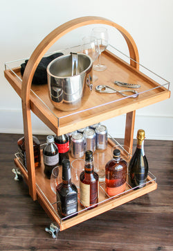 Bamboo Rolling Bar - Wine Rack Concepts