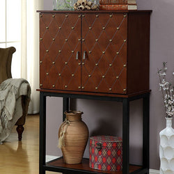 Brown Studded Double Door Wine Cabinet - Wine Rack Concepts