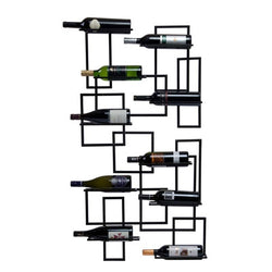 black metal mounted wine rack