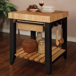 Color Story Black Butcher Block Kitchen Island - Wine Rack Concepts
