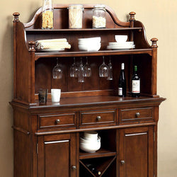 Tradition Wood Buffet Wine Rack with Glass Rack Hutch - Wine Rack Concepts