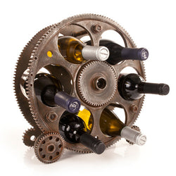 Gears & Wheels 6-Bottle Metal Wine Rack - Wine Rack Concepts