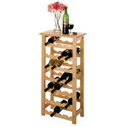 Natural wooden wine rack table