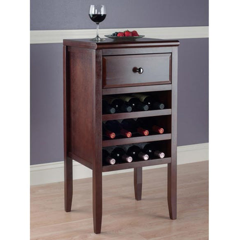 Dark wood wine rack cabinet